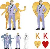 King of hearts attractive caucasian man with corps Stock Image