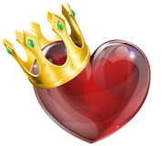 King of hearts concept. Illustration of a heart symbol wearing a crown, king of hearts concept Stock Image