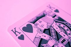 King of hearts macro, fortune-telling cards. Mystic card ritual, prediction of female love fortune, close up. royalty free stock photo