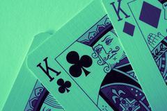 King of hearts macro, fortune-telling cards. Mystic card ritual, prediction of female love fortune, close up. royalty free stock photos