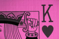 King of hearts macro, fortune-telling cards. Mystic card ritual, prediction of female love fortune, close up. stock images