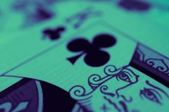 King of hearts macro, fortune-telling cards. Mystic card ritual, prediction of female love fortune, close up. stock photo