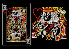 King of Hearts in neon. Isolated on black Stock Photography