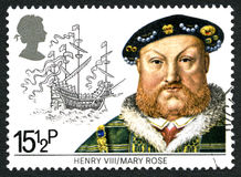 King Hnery VIII and the Mary Rose UK Postage Stamp Stock Photography