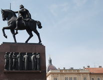 King on a horse. Monument of the Croatian King Tomislav (925-928) in Zagreb Royalty Free Stock Photos