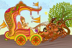 King in Horse Chariot. Vector illustration of King riding Horse Chariot stock illustration