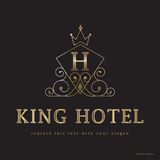 King Hotel logo and graphics. Ornate crown graphics with block text H and King Hotel with copyspace on black royalty free illustration