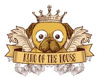 King of the house - Dog emblem. Retro emblem with a dog on it that reads King of the house. It has flourishes, wings and a banner, all in vintage style stock illustration