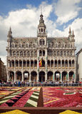 King House or Het Broodhuis in Grand Place of Brussels Behind Flower Carpet Royalty Free Stock Images