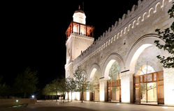 King Hussein Bin Talal mosque in Amman (at night), Jordan.  Royalty Free Stock Photos