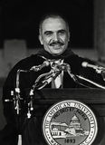 King Hussein of Jordan. His Majesty King Hussein I of the Hashemite Kingdom of Jordan receives an honorary degree in a ceremony from The American University in Stock Photography