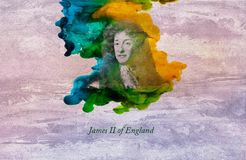 King James II of England. James II and VII was King of England and Ireland as James II and King of Scotland as James VII, from 6 February 1685 until he was vector illustration
