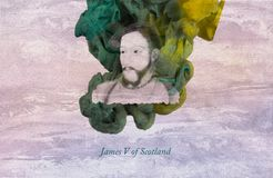 King James V of Scotland. James V was King of Scotland from 9 September 1513 until his death, which followed the Scottish defeat at the Battle of Solway Moss royalty free illustration