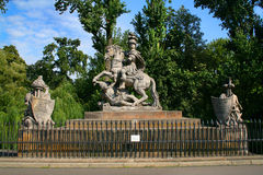 King Jan III Sobieski  monument in Warsaw. Poland, with trees in background Royalty Free Stock Images