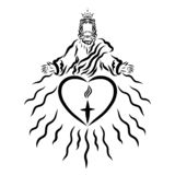King Jesus Giving People Salvation, Light and Love.  royalty free illustration