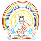 King Jesus under the rainbow and over the open Book of Life.  stock illustration