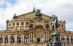 King Johann I Mounument and Semperoper in Dresden Royalty Free Stock Photo