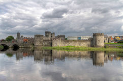 King John Castle in Limerick. With reflection in Shannon river Royalty Free Stock Image