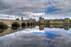 King John Castle with perfect reflection. In Limerick, Ireland Stock Photography