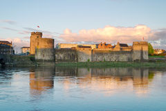 King John Castle at sunset. King John Castle in Limerick, Ireland Stock Image