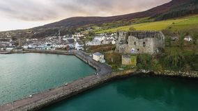 King John`s Castle. Carlingford. county Louth. Ireland. Aerial view of King John`s Castle and Carlingford town, Norman castle. county Louth. Ireland stock images