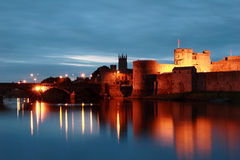 King John's Castle ,Limerick, Ireland. Reflection of king john's castle in limerick, ireland stock images
