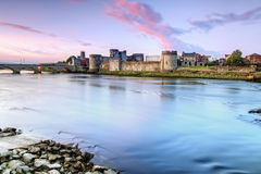 King John's Castle in Limerick, Ireland. King John's Castle is a castle located on King's Island in Limerick, Ireland, next to the River Shannon Stock Image