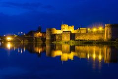 King John`s Castle, Limerick. Night photo of king John`s Castle and the Shannon river in Limerick, Ireland, 2017 Royalty Free Stock Photo