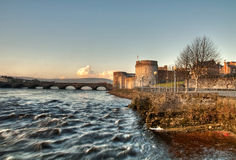 King John's castle and river. Limerick castle and Shannon river Stock Photography