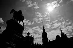 King John Statue and Royal Dresden Castle Royalty Free Stock Photos