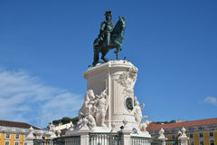 King Jose I monument in Praca do Comercio. King Jose I bronze statue in the iconic Commerce Square in the very centre of Lisbon Stock Image