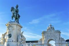 King Jose Statue Rua Augusta Arch  Commerce Square Square Lisbon. King Jose 1 Statue Rua Augusta Arch  Baixa Praca de Comercio Commerce Square Lisbon Portugal Stock Photo
