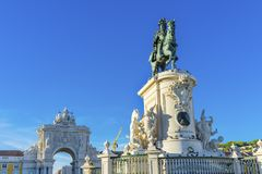 King Jose Statue Rua Augusta Arch  Commerce Square Square Lisbon. King Jose 1 Statue Rua Augusta Arch  Baixa Praca de Comercio Commerce Square Lisbon Portugal Royalty Free Stock Photo