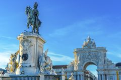 King Jose Statue Rua Augusta Arch  Commerce Square Square Lisbon. King Jose 1 Statue Rua Augusta Arch  Baixa Praca de Comercio Commerce Square Lisbon Portugal Royalty Free Stock Images