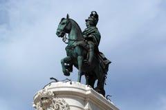 King Joseph statue at the commerce square, Lisbon, Portugal Stock Photos