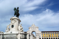 King Joseph statue at the commerce square, Lisbon, Portugal Royalty Free Stock Image