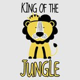 King of the Jungle LION. Funny vector character drawing. Lettering poster or t-shirt textile graphic design. / Cute lion character illustration. Handwritten vector illustration