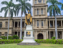 King Kamehameha I Statue, Ali iolani Hale. HONOLULU, HI - AUG 6: King Kamehameha I Statue, by Thomas Gould, on August 6, 2016 in Honolulu, Hawaii. It is in front Royalty Free Stock Photography