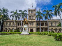 King Kamehameha I Statue, Ali iolani Hale. HONOLULU, HI - AUG 6: King Kamehameha I Statue, by Thomas Gould, on August 6, 2016 in Honolulu, Hawaii. It is in front Royalty Free Stock Photo