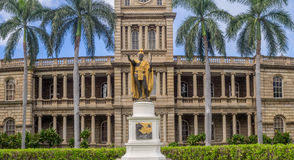 King Kamehameha I Statue, Ali iolani Hale. HONOLULU, HI - AUG 6: King Kamehameha I Statue, by Thomas Gould, on August 6, 2016 in Honolulu, Hawaii. It is in front Stock Photography