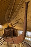 King Khufu Solar Boat displayed in museum in Giza, Egypt stock photo