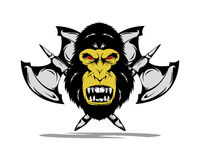 King kong badge. Anggry king kong with two axe Royalty Free Stock Photos