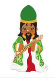 King leading incense. King magus, of Middle Eastern origin, dressed in green and red, brings the gift of incense, illustrated and stylized on a white background Stock Photo