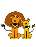 The king a lion. With a lioness on a white background Vector Illustration