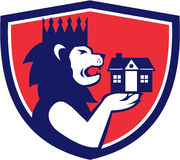 King Lion Holding House Crest Retro Stock Images