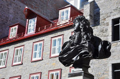 King Louis XIV Statue, Place Royale, Quebec City. King Louis XIV Statue, Place Royale, Old Quebec City, Quebec, Canada. Historic District of Quebec City is Royalty Free Stock Photos