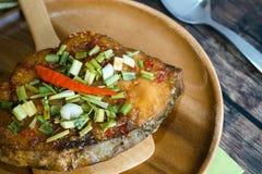 King Mackerel serve with sauce in Thai menu food Stock Photos