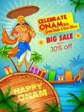 King Mahabali on advertisement and promotion background for Happy Onam festival of South India Kerala Stock Photography