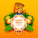 King Mahabali on advertisement and promotion background for Happy Onam festival of South India Kerala. Illustration of King Mahabali on advertisement and royalty free illustration