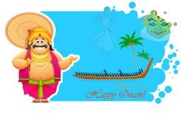 King Mahabali enjoying Boat Race of Kerla. Illustration of King Mahabali enjoying Boat Race of Kerla on Onam vector illustration